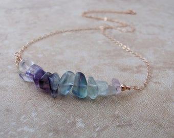 Raw Rainbow Fluorite Necklace, Rough Stone Necklace, Gemstone Bar Necklace, Layering Necklace, Beaded Bar, Natural Fluorite Gemstone Jewelry