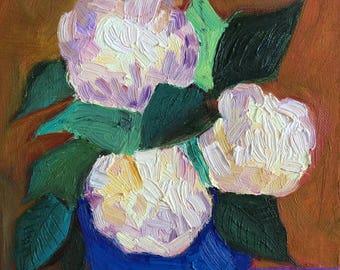 Original Oil Painting - Summer Morning Hydrangeas ,Still life Impressionism