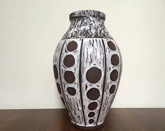"Carstens Tönnieshof C 187-45 floor-vase , modern pattern  ,,Wax""glaze , rare  Vintage vase  1960s West Germany. WGP."