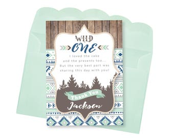 WILD ONE Thank You Card, Customized Printable DIY, Boy's Boho, Tribal, Thank You