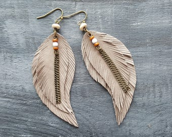 Beige bronze leather earrings Large feather earrings Leather feather earrings Long dangle earrings Bronze bohemian earrings Boho earrings