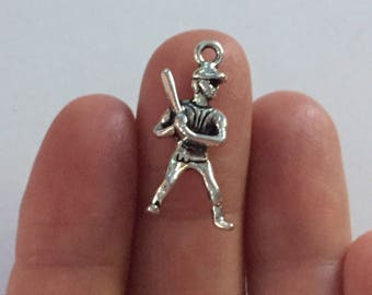 6 Baseball Player Charms Antique Silver 25mm x 14mm - SC4004