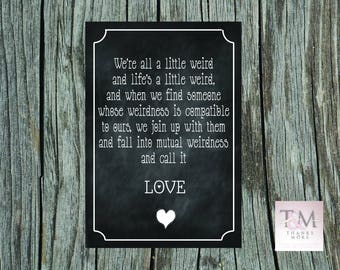 Chalk effect wedding print. Wedding Love quote sign