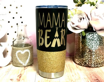 Mama Bear Stainless steel tumbler 20 oz glitter To go Cup Thermos Insulated travel mug Gift for Mom Mama Bear Mug new Mommy