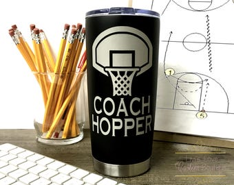 Gift for Basketball Coach Engraved 20 oz Stainless Steel Coffee Tumbler Reusable Vacuum Insulated Travel To-Go Mug coffee, tea cup thermos