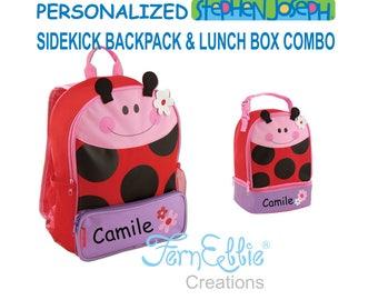 Personalized Stephen Joseph LADYBUG Sidekick Backpack and Lunch Pal Combo, Kids Backpack, Kids Lunch Box.