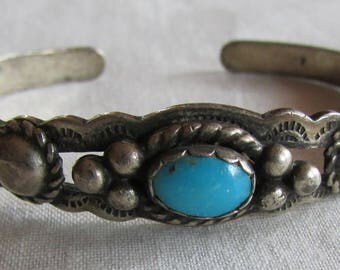 Fred Harvey Era Sterling Silver and Turquoise Child's Cuff Bracelet
