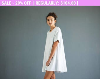 Weekend SALE Women's t shirt dress ,white t shirt dress, oversize t shirt dress,oversize tunic, white shirt dress, minimalist dress,