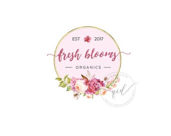 Premade logo design floral watercolor design circle gold images custom logo design branding marketing kit