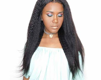 Kinky Straight 150% Density Human Hair Wig
