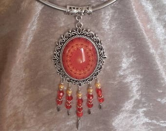 large pendant necklace silver orange cabochon and beads