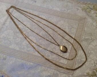 Vintage Gold tone Locket 3 Chain Necklace ~ Gorgeous