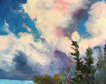 Sky Painting,  Cloud Study, Winter Scene, Water Landscape