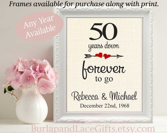 50th Anniversary, 50 years Down, 50, Gift to Wife, Gift to Parents, Gift to Husband, Framed Print, Linen, Cotton, Burlap, Fifty  (208)