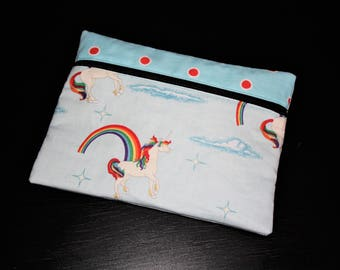Zipped hand clutch in my wonderful Unicorn patterned cotton.