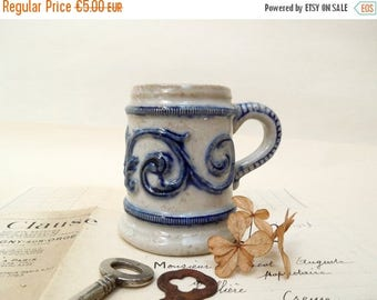 SALE Small Stein Mug, Shot glass, Blue and Grey Salt Glazed, German, French Vintage, Beer, Collectible, stonewear antique small vase planter