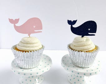 Whale Cupcake toppers/ Nautical Glitter Cupcake toppers/ Anchor cupcake toppers/ Lets Get Nauti cupcake/set of 12