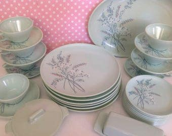 Jadeite Green Melmac dinnerware, mint green Watertown Lifetime, melmac plates, bowls, large lot melmac, service for 6