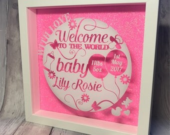 Welcome to the world, birth announcement frame, box frame,  wall art, unique gift, home decor, new baby, boy, girl, new mum, christening