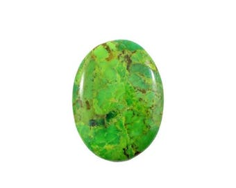 THE BIG SALE Mohave Green Turquoise 30x40mm oval polished cabochon - Buy loose or Make your own custom design