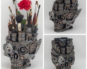 Steampunk Skull Organizer home decor