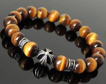 ON SALE NOW Men's Women Brown Tiger Eye Bracelet 925 Sterling Silver Cross Bead & Spacers DiyNotion Handmade Br1095