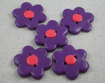 Boutons008 - Purple and pink flower button