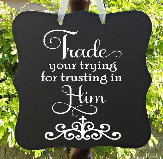 Trust In Him Sign, Christian Sign, Jesus Sign, Lord Sign, Home Decor, Wall Art, Entryway Sign, Gift, Farmhouse Sign