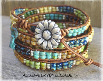 Beaded Leather Wrap Bracelet/ Seed Bead Leather Wrap Bracelet/ Boho Seed Bead Bracelet/ Seed Bead Wrap Bracelet/ Boho Wrap Bracelet.