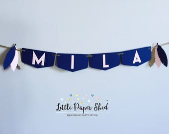 Handmade Birthday Name Banner Up To 10 Letters - Tribal Feather Theme Navy & Pink