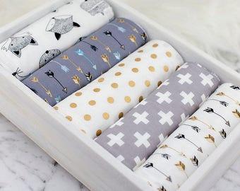 Baby Burp Cloths Set of 5, Baby Gift, Baby Shower, Newborn Burp Cloths, Gender Neutral Burpcloths, Fox Burpcloths, Bear Burp Cloths