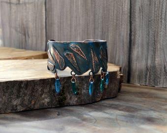 Copper caff bracelet, blue rain, raindrops