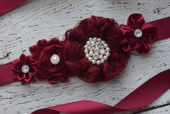 Flower Sash, small  burgundy Sash ,#2,  flower Belt, maternity sash, wedding sash, maternity sash girl, flower girl sash