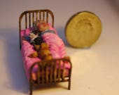 1/48th old lady sleeping with cat and dog, hand made dolls house quirky collectable