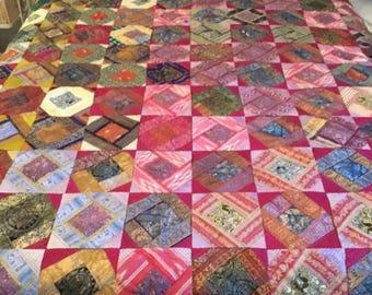 Vintage Quilt- Burgundy Silk