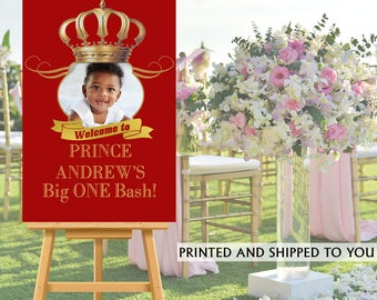 Royal Prince Party Welcome Sign, Welcome to the Party Sign, RED Photo Royal Birthday Welcome Sign, Foam Board Sign, Printed Welcome Sign