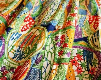 JPI - Vintage Japanese Kimono Silk Fabric **Vivid Japan**