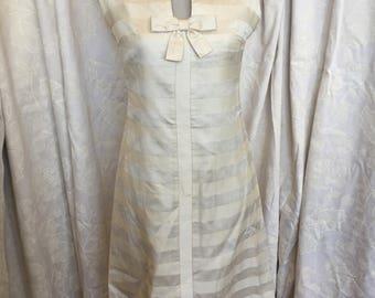 Late 50s cream striped silk sheath dress