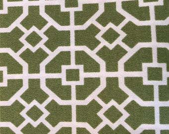 Fabric - Medium Weight Decorator Fabric Green Lattice