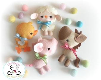 Farm Friends-Set of Four Farm Animals-PDF files-sewing pattern-Sheep-Horse-Pig-Chicken-Farm Animal ornaments-Nursery decor-Baby's mobile toy