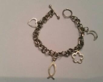 Vintage Sterling Silver Charm Bracelet 925