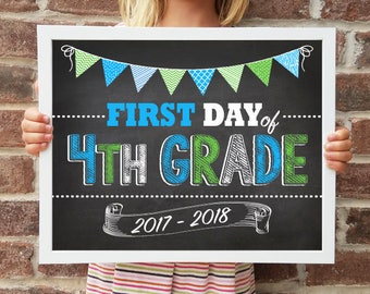 "4th Grade, Back to School Poster, DIGITAL Printable File, FIRST Day & LAST Day includ. 4 Sizes: 8x10"", 11x14"", 16x20"", 20x30"" includ."