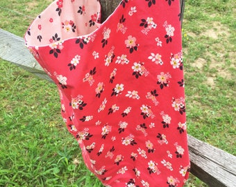 Boho Bag Red Floral Reversible Bag Slouch Bag Pink Floral Tote Hobo Bag Women's Bags Hobo Purse Flowers Shop for a Cause Floral Purse