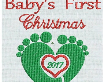 Baby's First Christmas, Baby Feet, Heart,  2017, Baby Designs Holiday  2 sizes Pes Format Instant Download