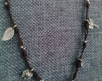 Vintage Sterling Silver Charms with Twisted Brown Hemp and Sterling Accents Necklace