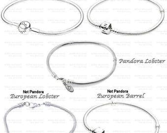 Authentic Pandora Bracelet, Sterling Silver, Or CHOOSE,Platinum Plated European(Euro)Style Bracelet, Both with Non Branded Mixed Charms PC1