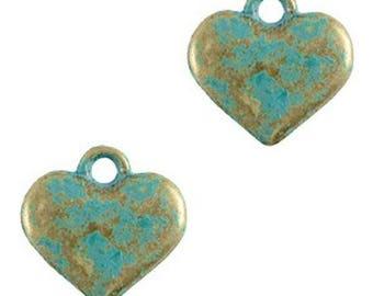 "Metal Pendant ""Cardio""-1 piece-Boho style-11 x 12 mm-Patina"