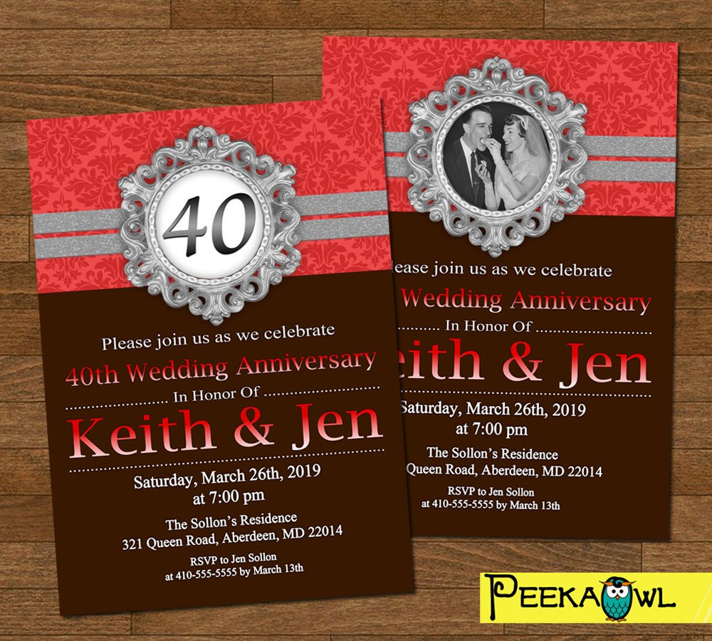 Personalized 40th Anniversary Invitations - Printable Red Black ...