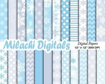 60% OFF SALE Let is snow digital paper snowflakes scrapbook papers winter wonderland christmas wallpaper background polka dots - M573