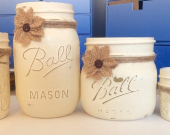 """Painted Mason Jar Set. Office, dorm, bathroom organization,decor. Painted with Annie Sloan's """"Old White"""" Chalk Paint. Distressed and sealed."""